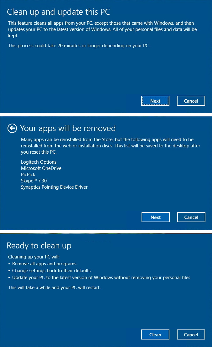 New reset to factory defaults experience on Windows 10 Creators Update