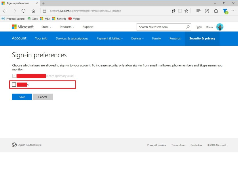 Disable sign-in with an alias on a Microsoft account