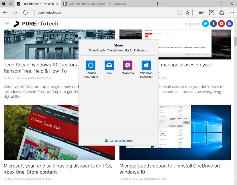 Microsoft Edge share UI on Windows 10 Creators Update