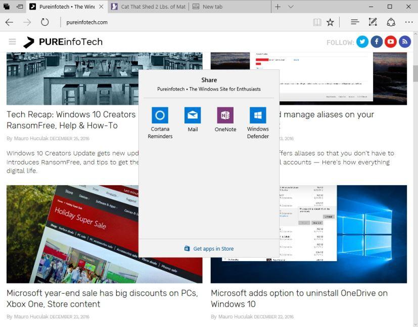 Microsoft Edge share UI on Windows 10 Creators Update