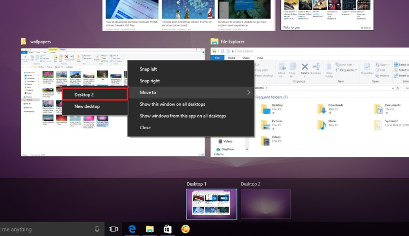Move app or window to another desktop