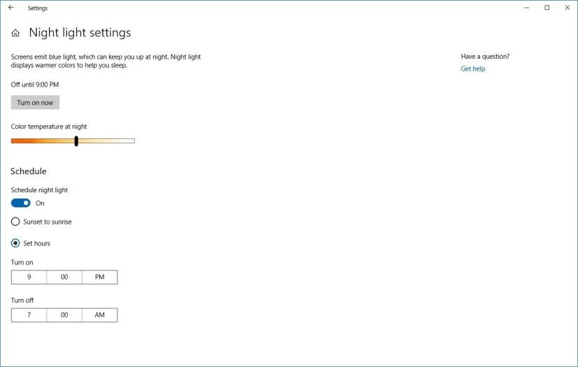 Night Light settings on Windows 10
