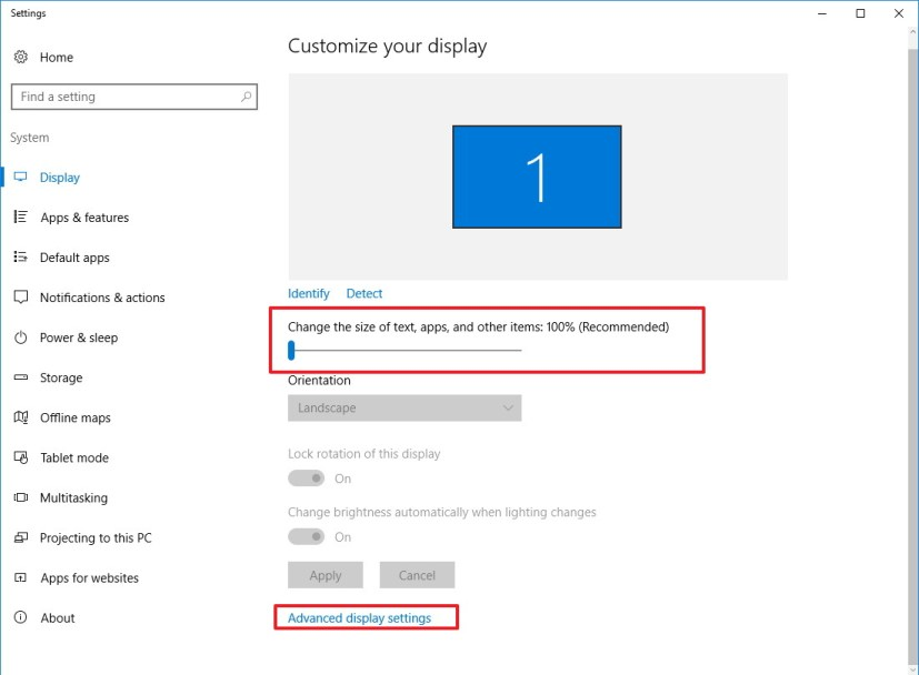 Windows 10 DPI scaling settings