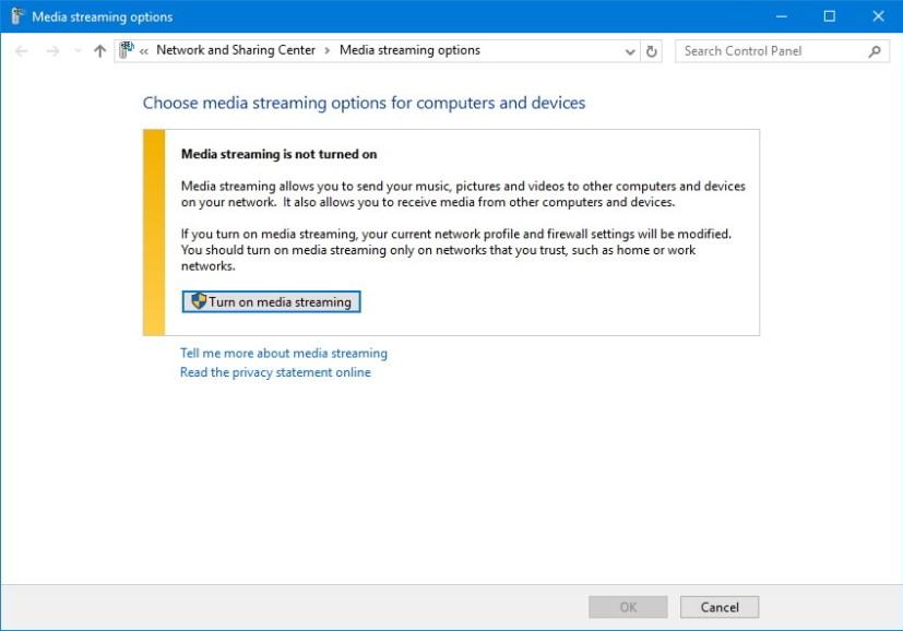 Turn on media streaming on Windows 10