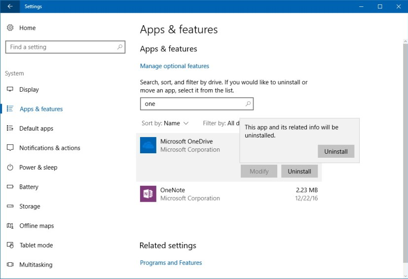 Uninstalling OneDrive using Settings app