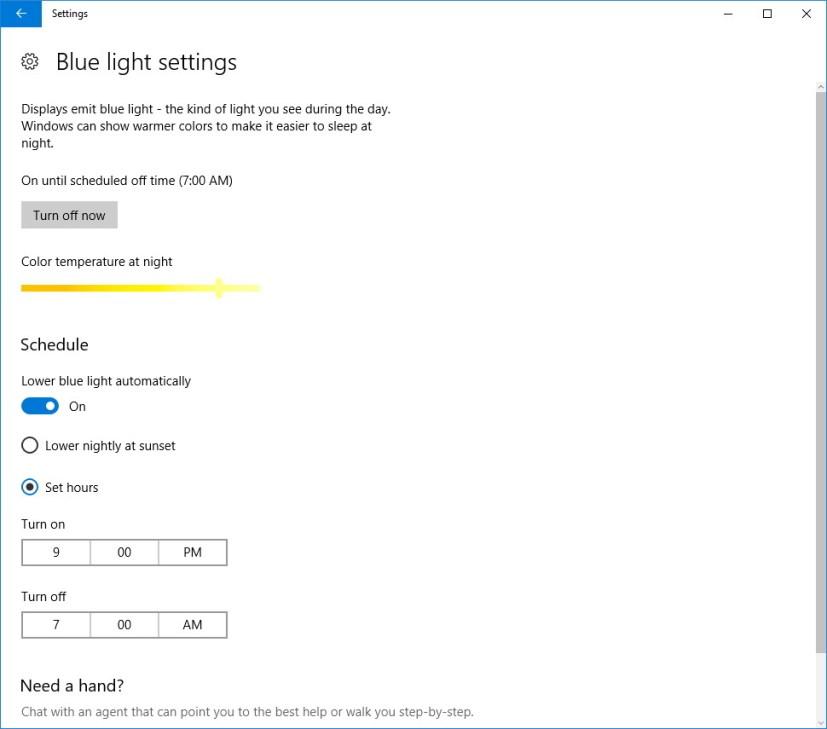 Windows 10 Blue light settings