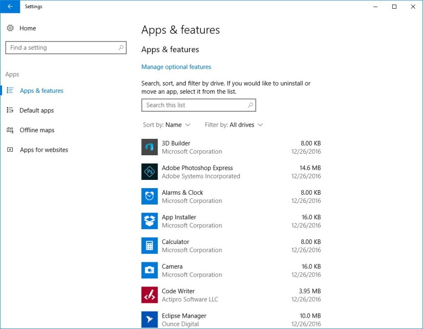 Windows 10 build 14997 Apps section on Settings