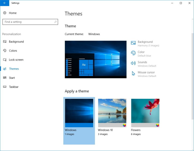 Themes settings section on the Windows 10 Creators Update