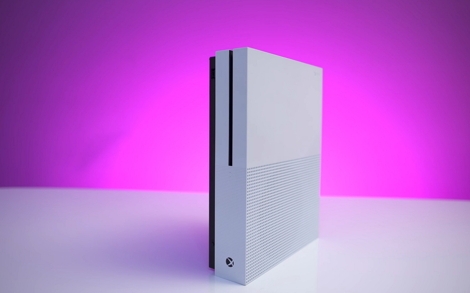 Xbox One S console (purple background)