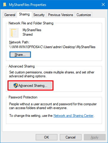 Folder Sharing tab, Advanced Sharing