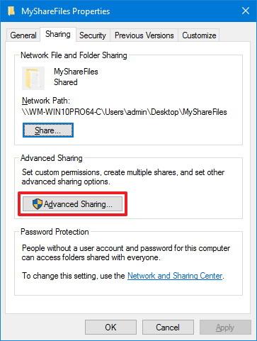 Folder Sharing tab, Advanced Sharing