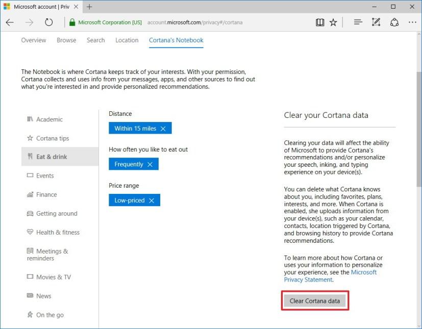 Clear Cortana data