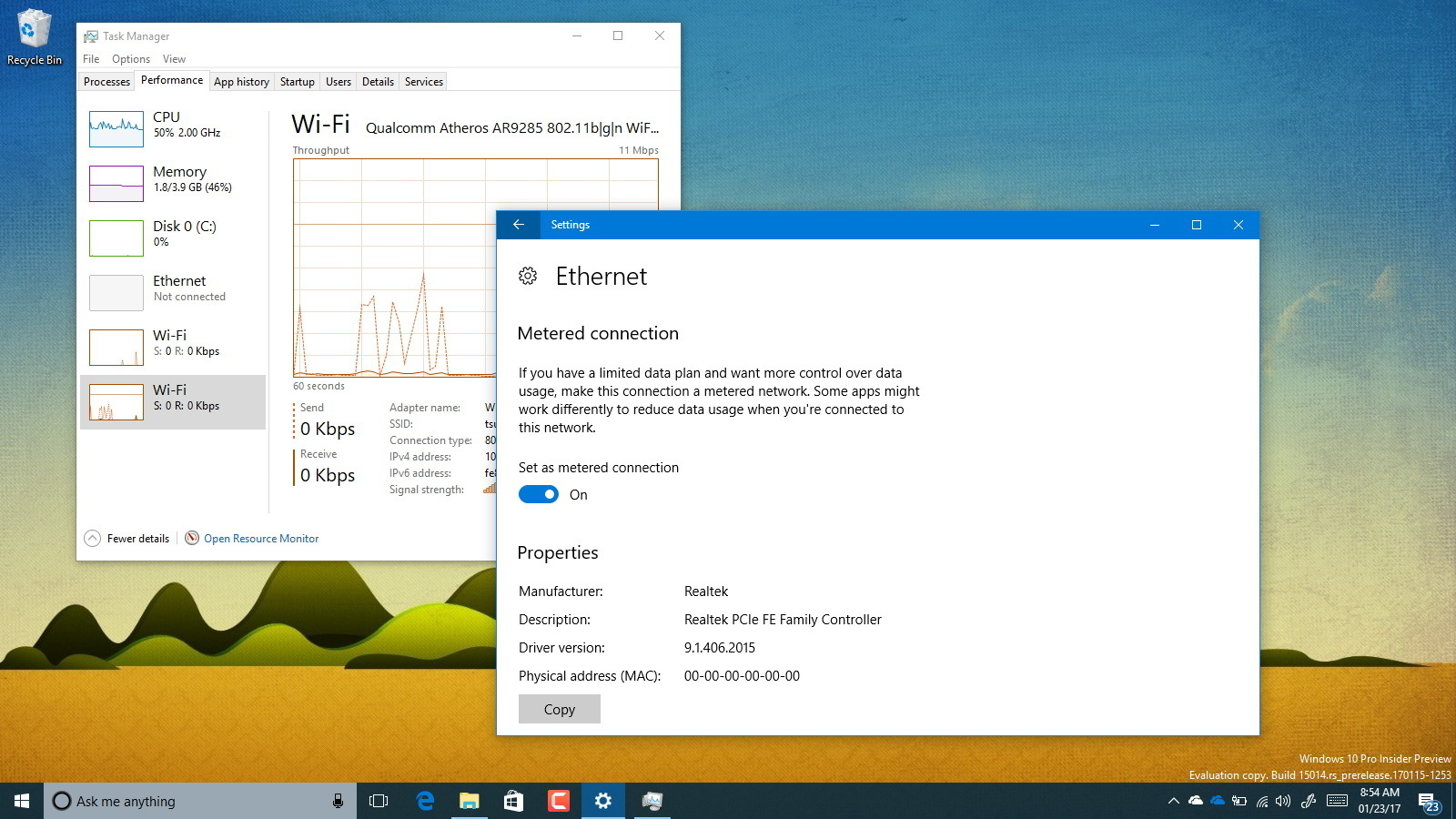 Windows 10 Ethernet metered connection