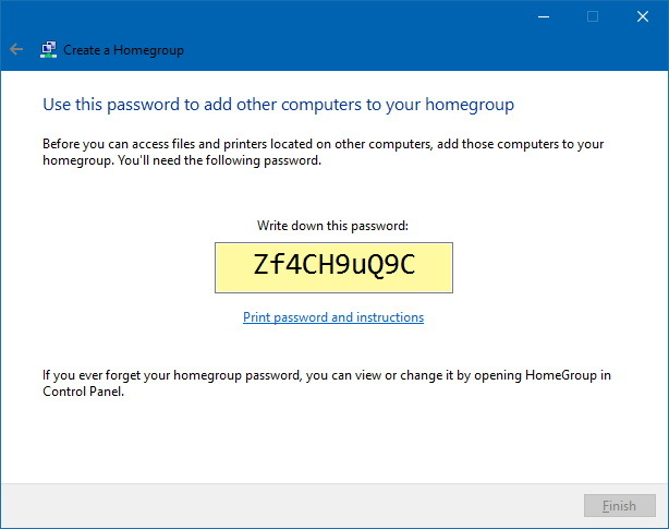 Homegroup password