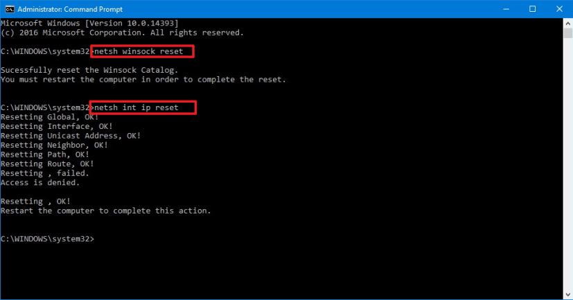 windows 10 winsock reset