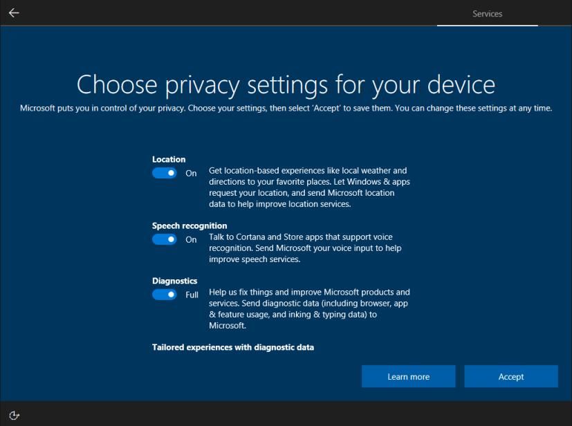 Privacy settings OOBE