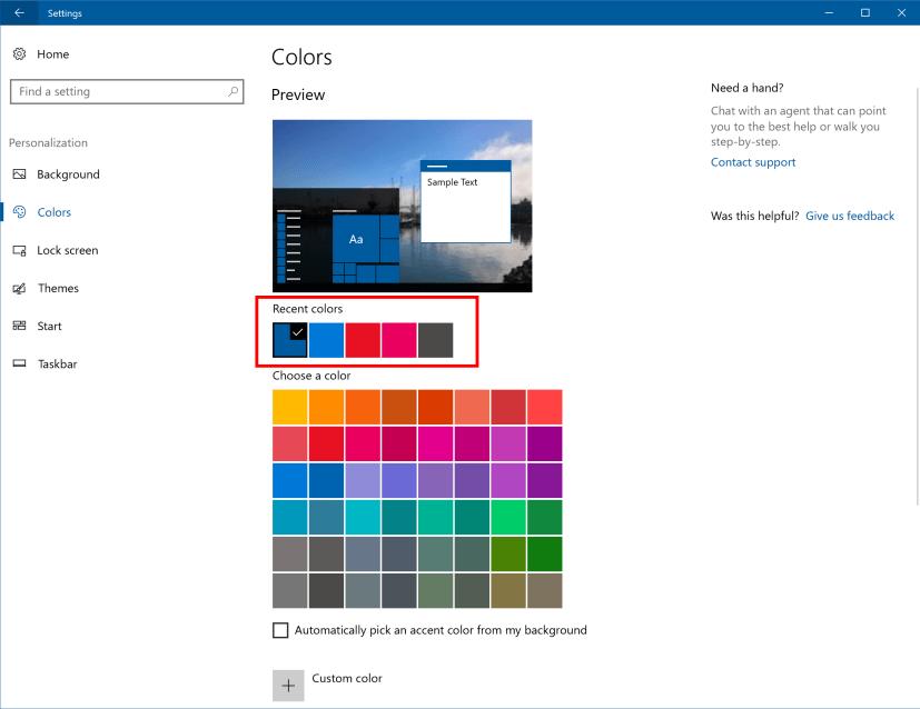 Colors settings