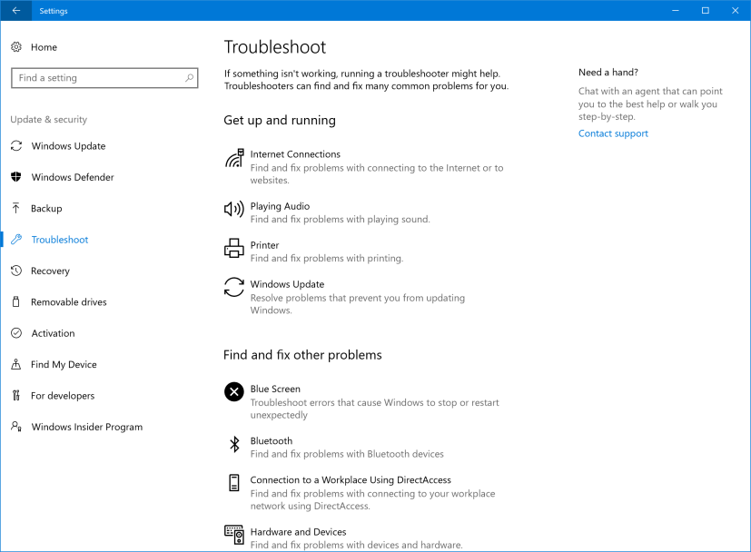 Troubleshoot settings page