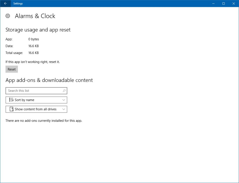 App reset and customization settings