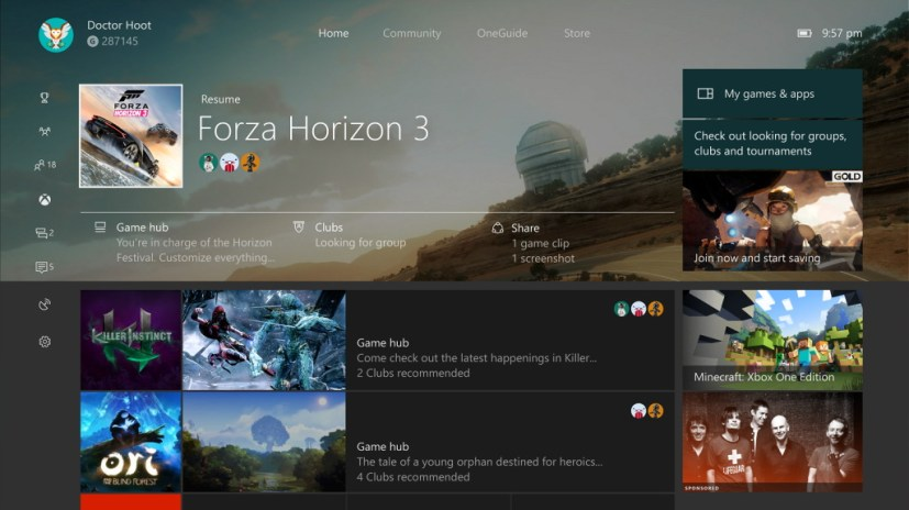 Update Home on Xbox One