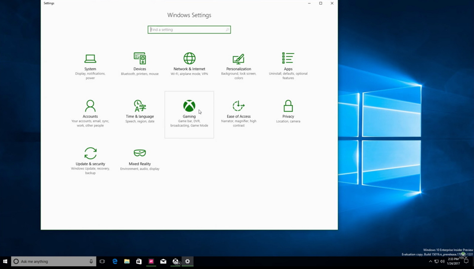 Windows 10 Creators Update Gaming settings