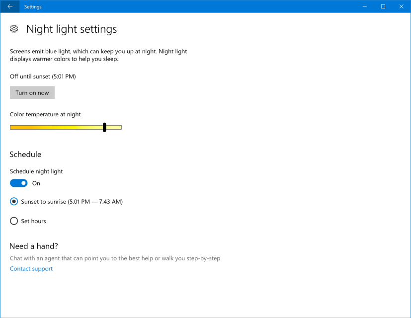 Windows 10 Night Light
