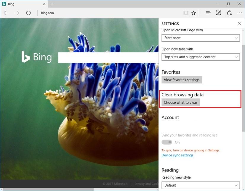 Microsoft Edge Clear browsing data