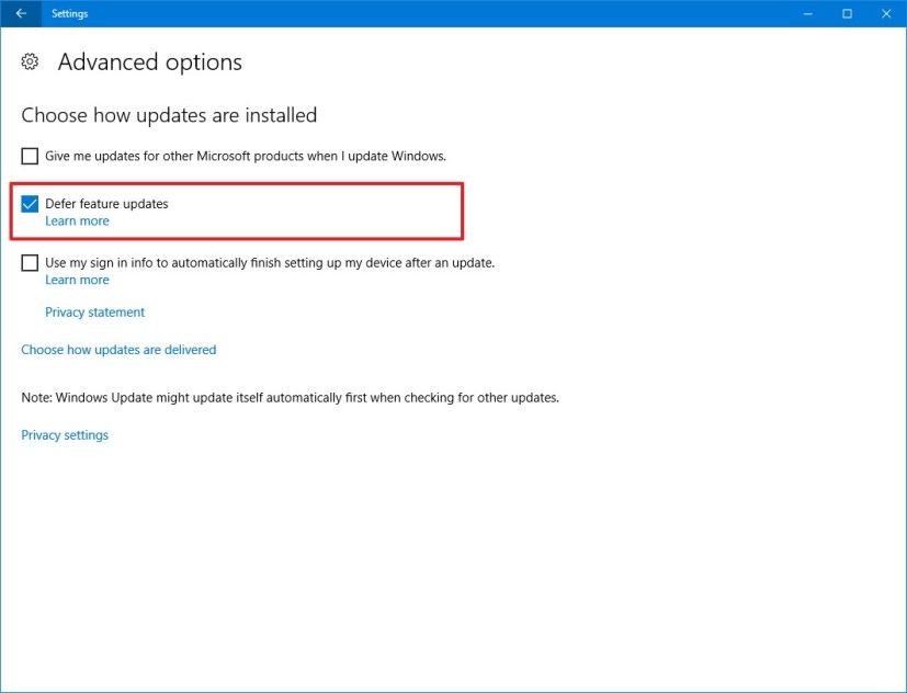 Windows Update, Defer feature updates option