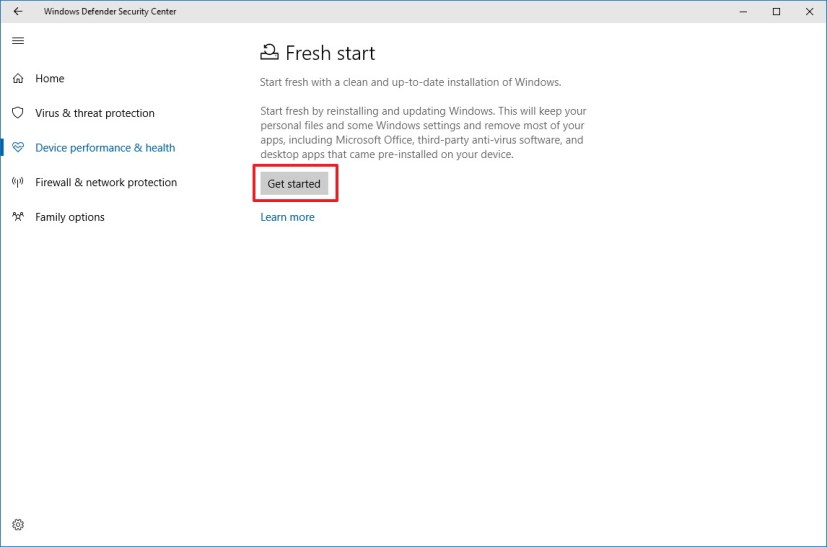 Fresh start settings on Windows Defender Security Center
