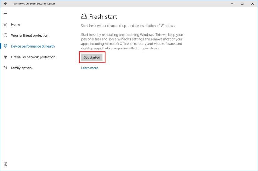 Fresh start settings on Windows Defender Security Center