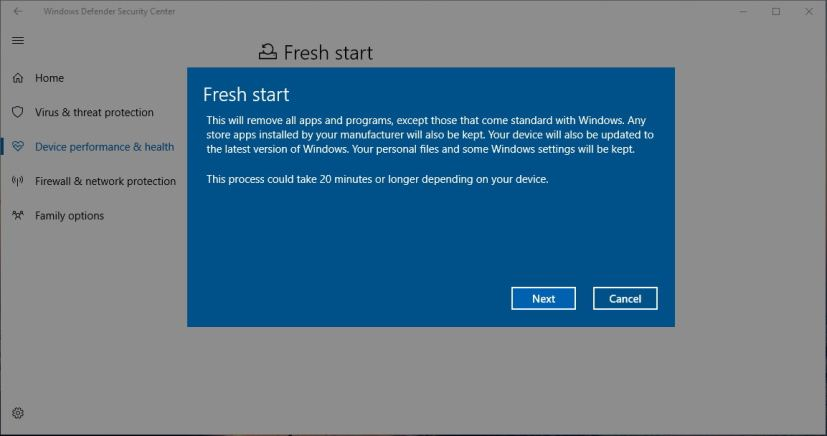 Fresh start wizard on Windows 10 Creators Update