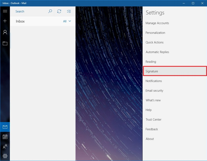 Windows 10 Mail settings Signature
