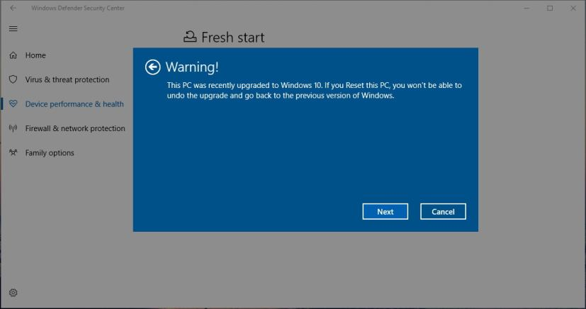 Windows 10 previous version warning