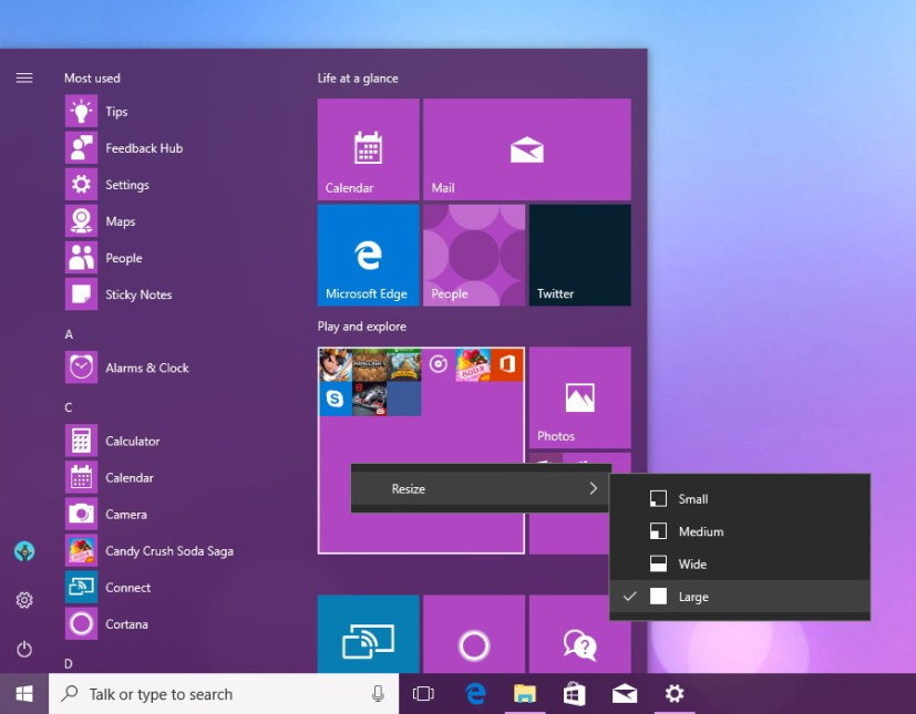 Resize Tile Folder in the Start menu
