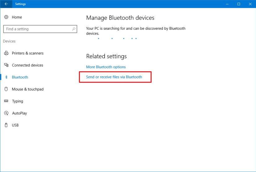 Bluetooth settings, Send or receive files via Bluetooth