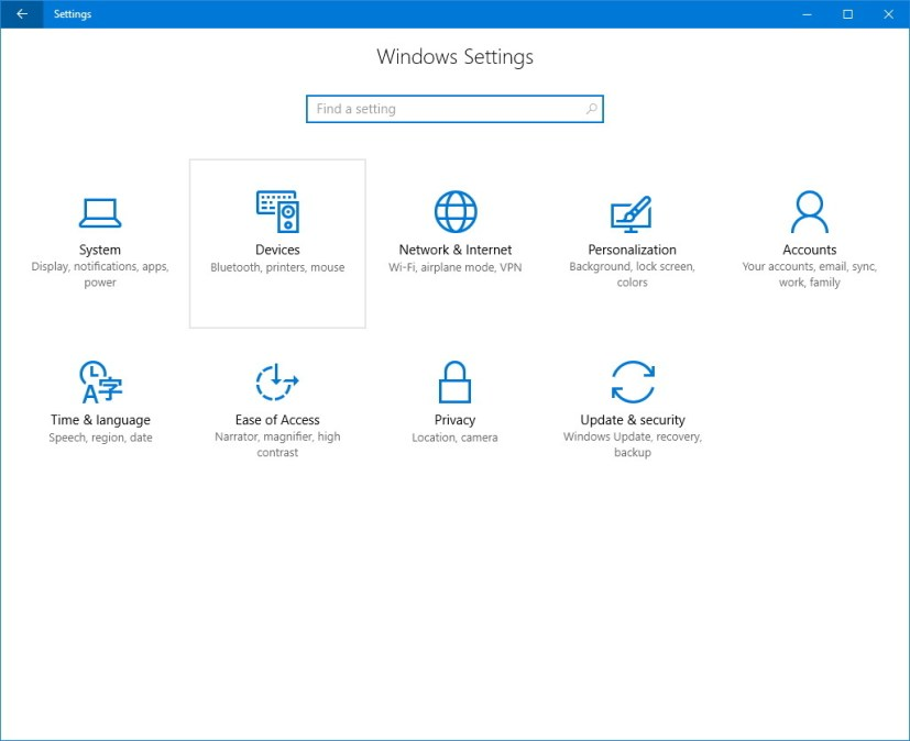 Windows 10 Settings: Devices