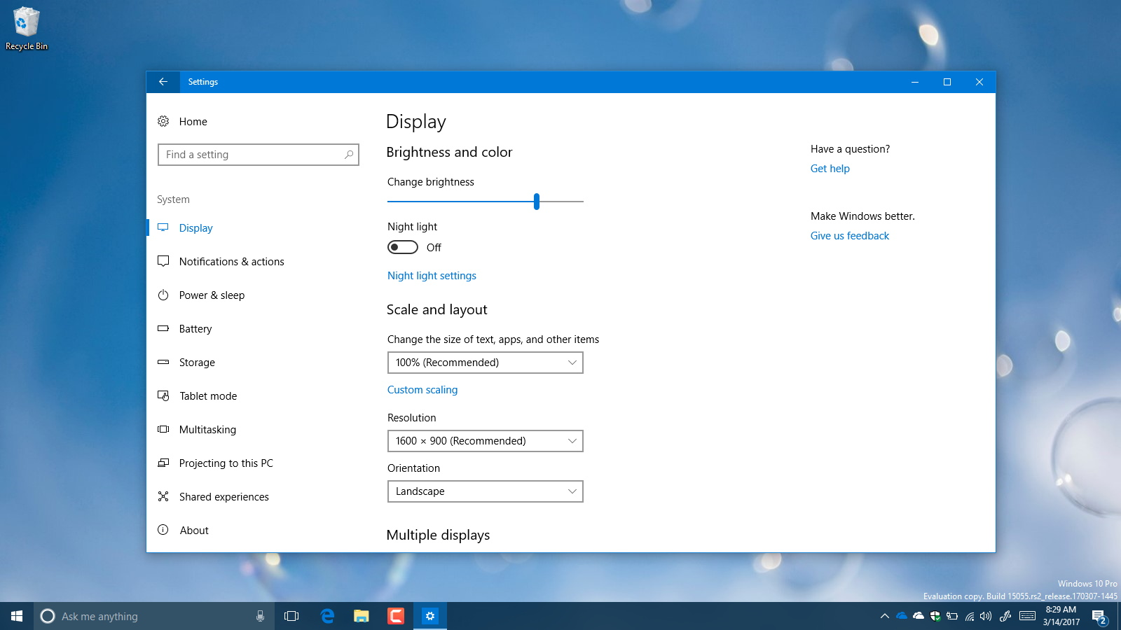 Change resolution settings on Windows 10