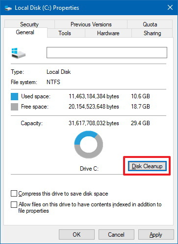 Windows 10 hard drive properties