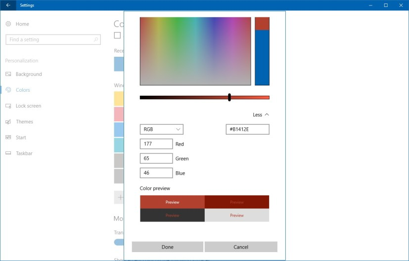 Specific RGB/HSV custom color settings