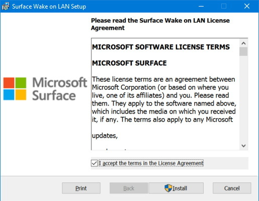 Surface Wake On Lan Setup
