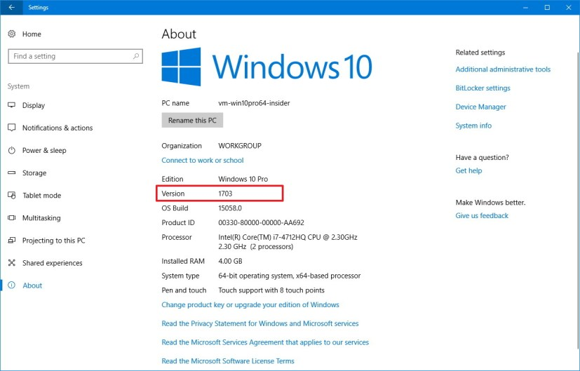 About settings on Windows 10