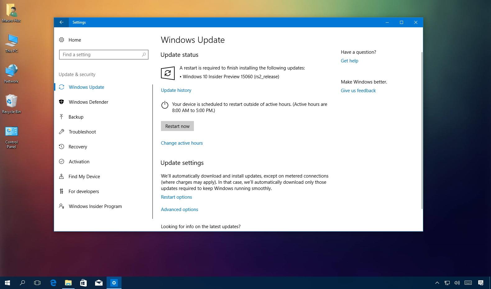 Windows 10 build 15060