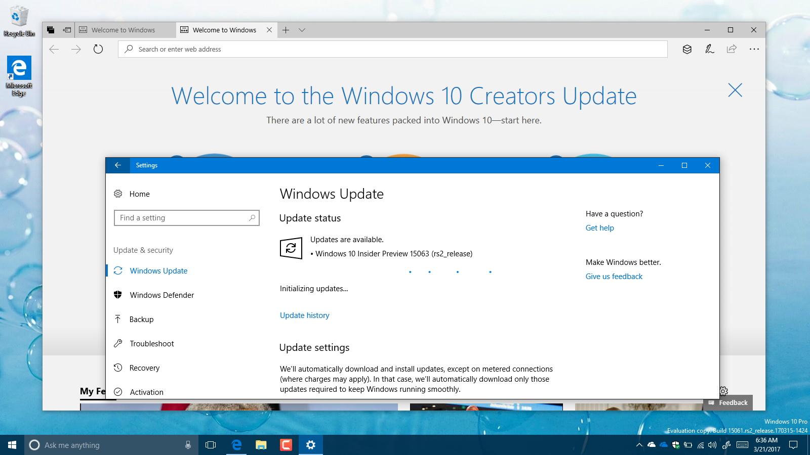 Windows 10 build 15063