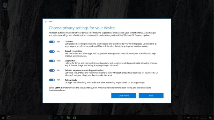 Windows 10 new privacy settings
