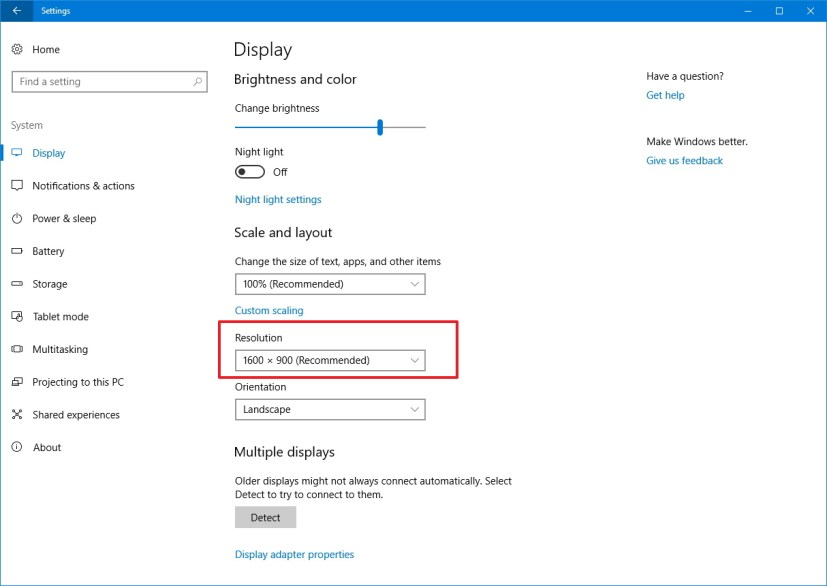 Windows 10 resolution settings