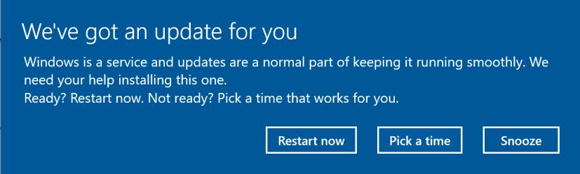 Windows 10 update snooze option