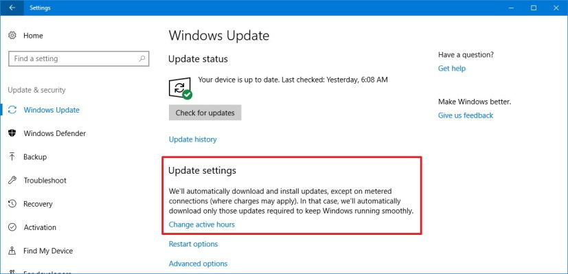 Windows Update settings