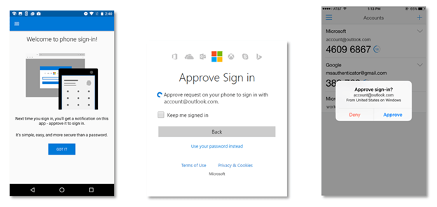 Microsoft Authenticator without password