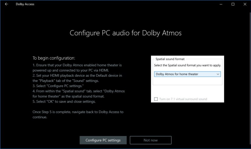 Dolby Atmos configuration