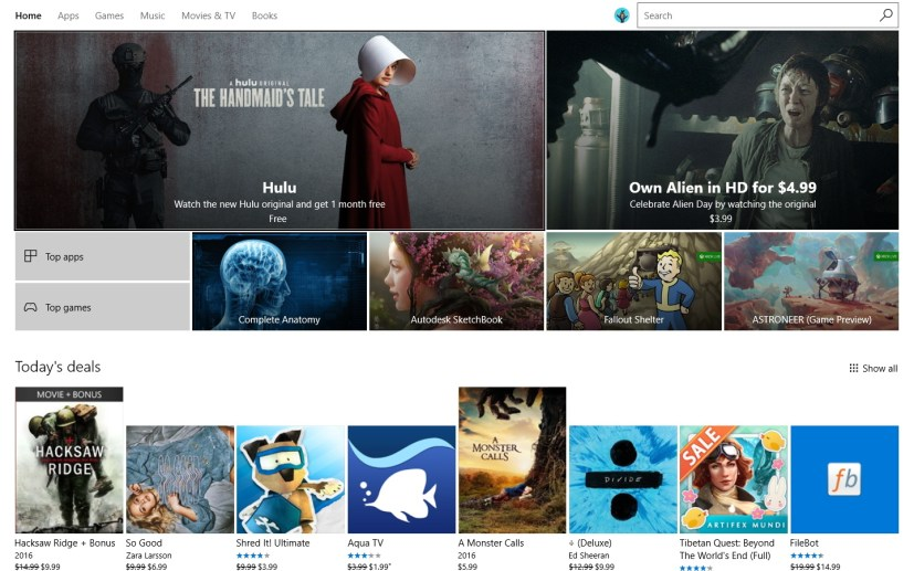 Windows Store app in full-screen mode